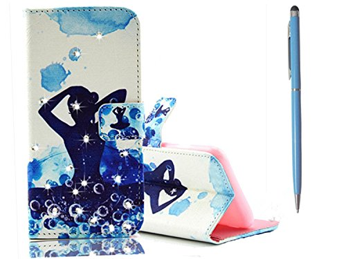 Type de tkshop® Coque pour Samsung Galaxy S7 Edge Case BookStyle Housse poches papillon robe fille girl brillant diamant Coque de protection ultra slim Smart Étui à rabat en cuir avec fonction support Étui en cuir PU avec fermeture magnétique portefeuille poche pour cartes et de l'argent magnétique étui coque Anti gefallene