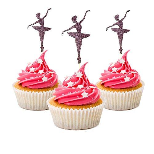 Ballerina Cupcake Topper Party Cupcake Topper Farbe Pink 12Stücke Pro packcupcake Topper Dekoration Kuchen Graduation Baby Dusche (Baby-dusche Dekorationen Eulen)
