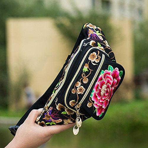 ZYT Bestickte Taschen Stickerei Leinwand Sport laufenden Telefon im freien Damentaschen Reisen portable persönliche Tasche 2