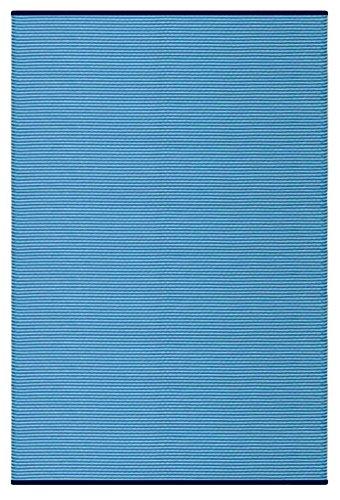 Green Decore Tapis léger extérieur réversible Plastique Rayures Tapis, Plastique, Bleu rayé, 90 x 150 cm