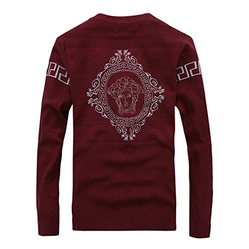 BOMOVO Herren V-Ausschnitt Reißverschluss Feinstrick Strickpullover Pullover Sweatshirts dark rot