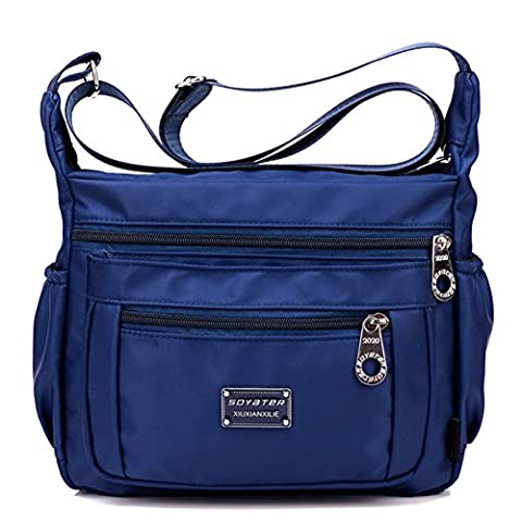 Crossbody Handbag for Women With Adjustable Shoulder Strap + Multiple Zippered and Elastic Pockets | Organize Wallet, Passport, Boarding Pass, & More | Navy Blue, Water Resistant Nylon | From Soyater