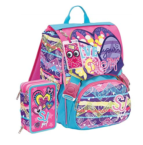 Schoolpack Zaino Scuola Estensibile Seven SJ Gang Girl Heart + Astuccio 3 Zip
