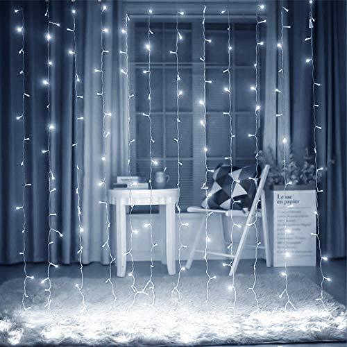 Cortina De Luces LED,3M*3M Cadena De Luces 300 LEDS Con 8 Modos Para Decoración De Ventana,Patio, Jardín,Bar, Navidad, Día De San Valentín, Boda,Fiesta, Decoración Del Hogar Exterior Interno