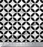 Soimoi Weiß Seide Stoff Kreis Kunst geometrisch Dekor