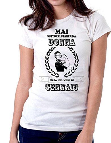 Tshirt Compleanno Mai sottovalutare una donna nata nel mese di Gennaio - humor - eventi e ricorrenze - compleanni - happy birthday - in cotone Bianco
