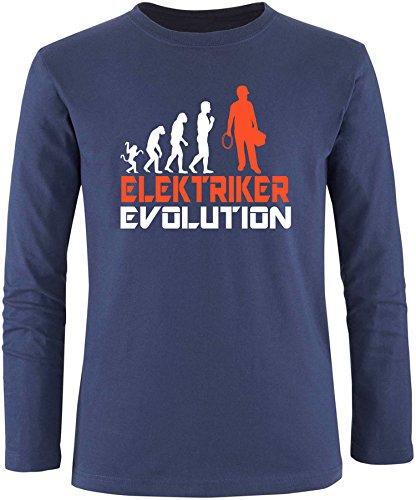 EZYshirt® Elektriker Evolution Herren Longsleeve Navy/Weiss/Orange