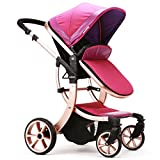 New carrozzine, High-view, Aluminum Alloy, Bidirectional, Detachable, Suspension and Folding Strollers, Pram, Pushchair, for Baby to Sit or Lie down (Purple) immagine