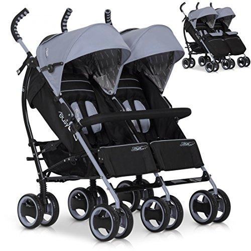 Zwillings-Buggy DuoComfort Geschwister-Wagen | Faltbar | Liegeposition | Regenschutz | Schwenkräder vorne -Grau Grey Fox
