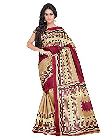 Texclusive Women's printed tapeta silk saree.