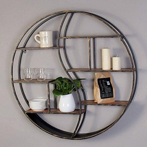 Retro ruote da parete modellabile in ferro battuto circolare display multifunzionale in legno massello (dimensioni : L 80 cm*12 cm)