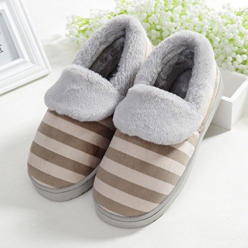YMFIE Femmes Hommes épaississement amoureux anti slip coton rayures chaussons chaussures E