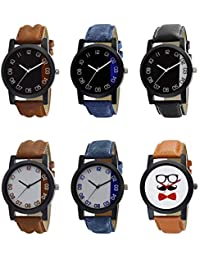 NEUTRON New 3D Design Beard Style Black Blue And Brown Color 6 Watch Combo (B36-B37-B38-B39-B40-B53) For Boys...
