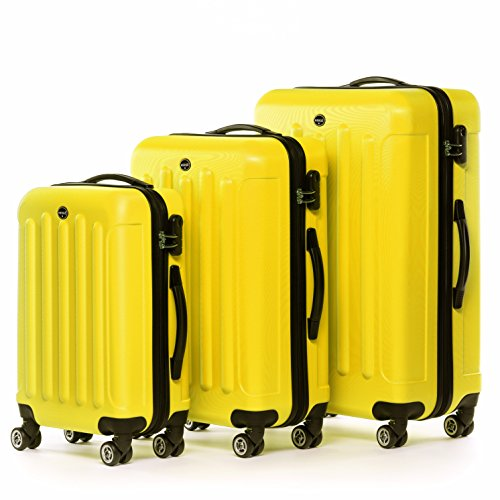 FERGÉ® ensemble de 3 valise LYON - ABS set trolley trois rigide léger grand - bagages à main 4 roulettes 360 degrés cabine Air France, EasyJet... homm...