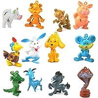 Lot de 12 Animaux les Douze Animaux-signes Chinois en Plastique Figurine Jouet