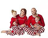 Carolilly Pyjama de Noël Famille Ensemble Pantalon et Haut Rouge