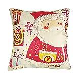 Miya@ 1 Stück hochwertige Kissenbezug Süß Nikolaus Weihnachtsmann, aus Baumwoll und Leinen Sofakissen couch Kissenbezug Geburtstagsgeschenk Hochzeitgeschenk Weinachtsgeschenk
