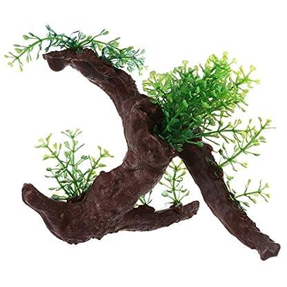 TOOGOO Green Dark Brown Fish Tank Aquarium Driftwood Plastic Tree 5.7 inch 1