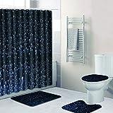 Kreative Mode 3D Stereo Tautropfen Muster Bad Wasserdicht Duschvorhang Bad WC 3-Teilige Badezimmer Rutschfeste Matte (Duschvorhang + Badematte + Sockel Mat + WC-Sitz Bodenmatte) (Größe: A)