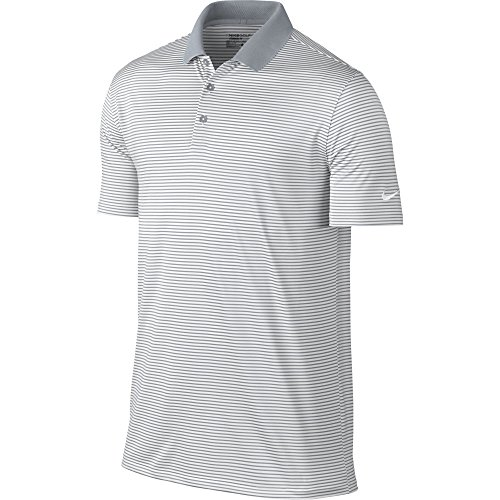 Nike Herren Victory Mini Stripe Polos XL weiß/grau (Polo-shirt Nike Gestickte)