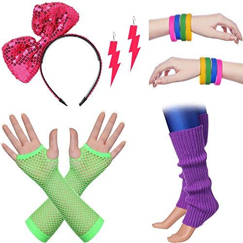 Kostüm 80er Inspirierte Jahre - ArtiDeco Damen 80er Jahre Zubehör 1980s Disco Party Kostüm Outfit Zubehör Set inklusive Stirnband Ohrringe Armbänder Beinlinge Fischnetz Handschuhe (Set-3)
