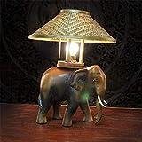 CJK2H Tischlampe Thai Holz Handwerk PersöNlichkeit Kleinen Elefanten Funktionen SüDostasiatische Lampen Dekorative NatüRliche Original Vintage Nachahmung Handbuch