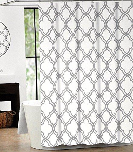 wolle Vorhang für die Dusche Marokkanische Fliesen Vierpass-grau und weiß Gitter, Textil, multi, 48x72 ()