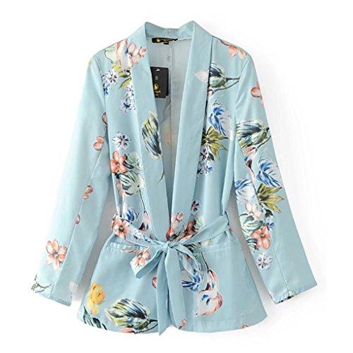 Masterein Frauen Blumen Blazer Kerbe Kragen Taschen Sch?rpen Langarm Mantel Casual Oberbekleidung (Blazer Kerbe-kragen)