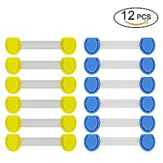 Kindersicherung Schrankschloss, AmyTech Babysicherungen Türsicherung Schranksicherung Schubladensicherung mit 3 M Klebekraft fürs Baby, 12 Stück pro Set. (Gelb+Blau für Ecke)