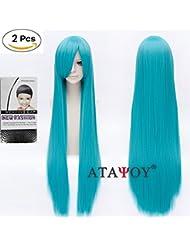 'atayou® Nouveau haute qualité Mode 100cm/40Perruque longue perruque cosplay perruque droite, unisexe + capuchon