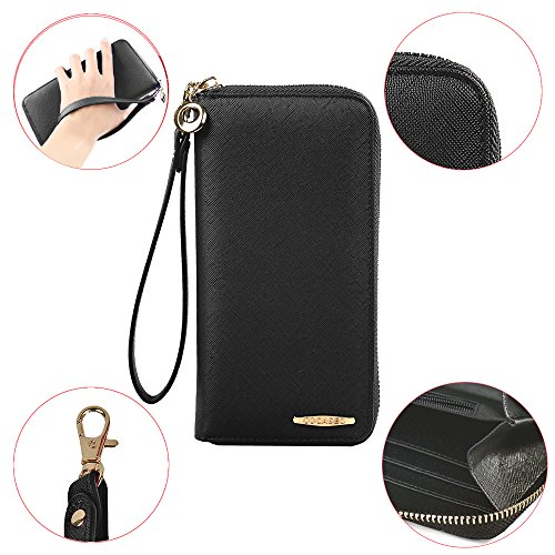 COCASES Ladies Purses PU Leather RFID Blocking Wristlet Zipped Clutch Wallet for Women in Black