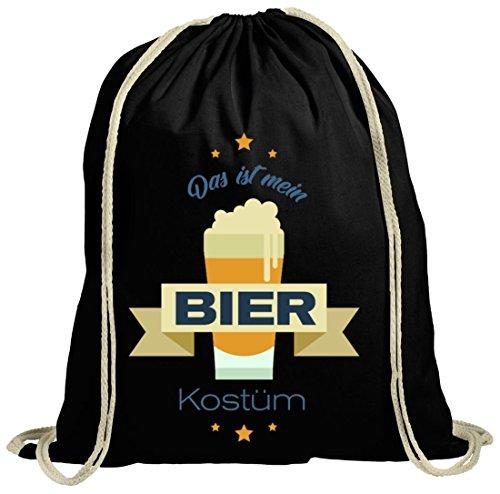 Bier Kostüm Turnbeutel für Bierfreunde Fasching Karneval schwarz natur