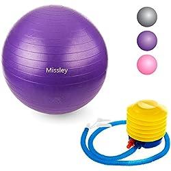 missley pelota de ejercicio, Premium Extra Grueso Yoga Ball–Pelota de gimnasia (Incluye Bomba de pie. Anti-Burst–Antideslizante. Pelotas de 65cm tamaño de fitness, morado