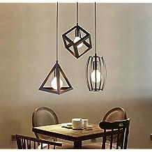 lednut Vintage lámpara colgante Juego de 3candelabros colgante Negro E27Lámpara de pantalla para techos Cocina Salón Dormitorio Iluminación de