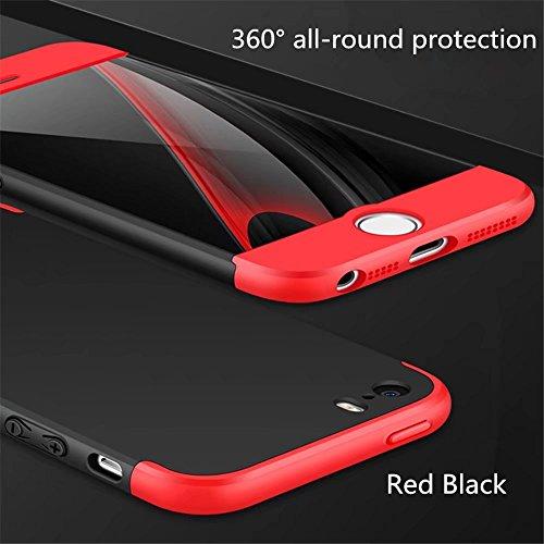 Coque pour iPhone SE/5/5S MUTOUREN haute qualité Soft TPU gel phone case Anti-choc Housse Etui 360 degrés Protection Anti Rayure phone Case Nouveau style- Rouge noir1 New Style Red black 1
