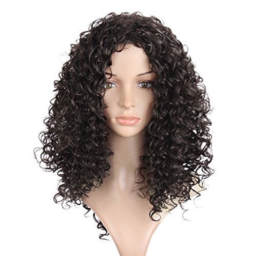 erücken - Fashion Afrikanische American Kurz Wigs Natur Gelockt Haar für Halloween Party Tägliche Abnutzung (Lockige Perücke Halloween)