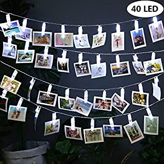 40 LED Fotoclips Lichterkette, Qedertek Batteriebetrieben Lichterketten Kalteweiß mit Fernbedienung & Timer 8 Modi Stimmungsbeleuchtung für hängende Bilder & Foto, Hochzeit, Schlafzimmerdekoration