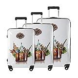 SiestaDesign Set valige da viaggio In policarbonato con stampa, 3 pezzi, Guscio rigido con 4 Rulli e lucchetto TSA - I Love mondo - Set di valige da viaggio in policarbonato - 4 ruote singole rotanti - Telaio in alluminio - Lucchetto TSA - 2 ...