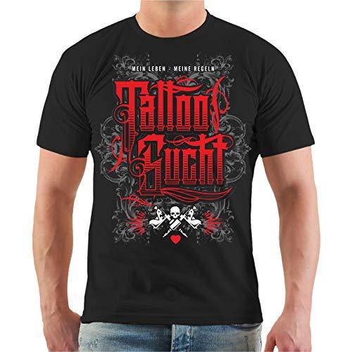 Blood-skull-t-shirt (Life Is Pain Männer und Herren Tshirt Tattoo Meine Regeln (mit Rückendruck) Größe S - 8XL)