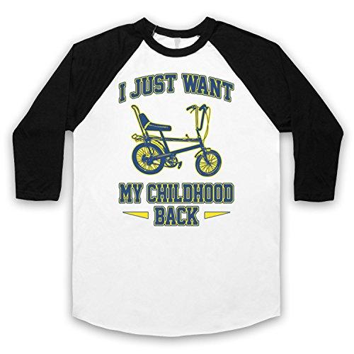 Chopper Bike I Just Want My Childhood Back 3/4 Hulse Retro Baseball T-Shirt Weis & Schwarz