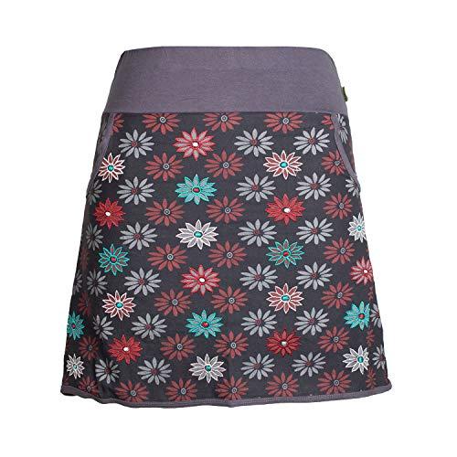 Vishes - Alternative Bekleidung - Damen Baumwoll-Rock mit 70er Jahre Retro Blumen Bedruckt und Taschen schwarz 34