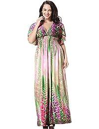 JOTHIN Frauen Kurzarm V-ausschnitt Bedrucktes Strandkleider Plus Size Boho  Stil Bunt Kleider Mit Hohe 8619365074