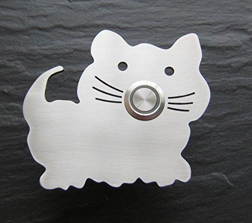 Edelstahlklingel, Klingelplatte Katze