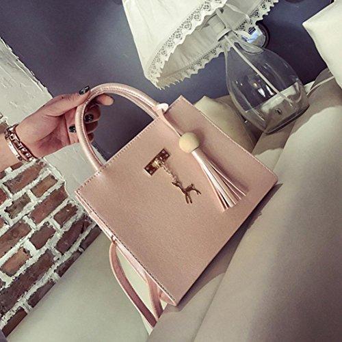Longra Solid Color Moda donna artificiale pelle cervo crossbody borsa spalla borsa borsa Tote Bags Rosa