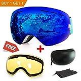 Skibrille, mit Beschlag- und UV-Schutz, für Wintersportarten, Snowboardbrille mit austauschbarer, sphärischer Dual-Linse, für Männer, Frauen und Jugendliche, für Schneemobil-, Skifahren oder Skaten, blau