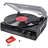 Lauson Woodsound CL502 Turntable, USB Vinyl-To-MP3 Record Player, 3 Speed, Stereo Built in Speakers, Belt-driven