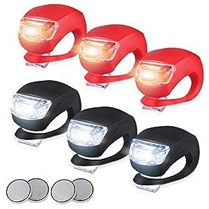 6pc LED Silikon Vorne Rückleuchten Set Push Cycle Clip Licht Fahrradlampe,Frontlichter+Rücklicht,3 Modus-Einstellung Ultra Bright LED,Fahrradlampe,Fahrradlichter,am Rucksack befestigt,Helm,Jacke