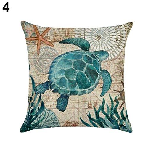 18Inch Vintage Concha de mar ballena tortuga manta funda de almohada cama sofá cojín cubierta Amesii