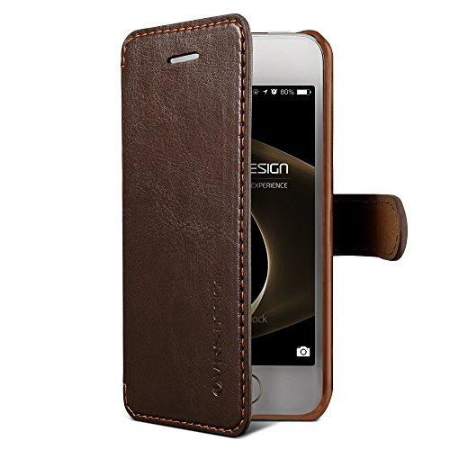 Apple iPhone SE / 5s / 5 Handy Schutz-Hülle Dandy Layered Schwarz / Weinrot Premium PU-Ledertasche | Zubehör Smartphone Tasche | Cover mit Kartenfach | VRS Design Rundum-Schutz Case | Klappbar-Etui |  Braun / Dunkel Braun