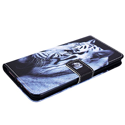 SMART LEGEND Lederhülle für iPhone 7 Plus Ledertasche Hülle Schwarz Farbe Muster Schutzhülle Premium PU Leder mit Handschlaufe Flip Case Protective Cover Innere Weiche Silikon Bookcase Handy Tasche Sc Weisser tiger